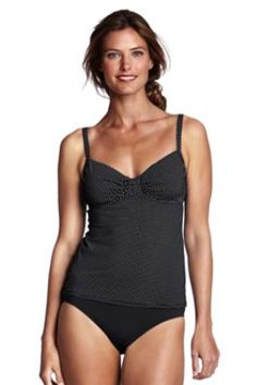 Women's Beach Living Mini Dot Shirred Tankini Top from Lands' End