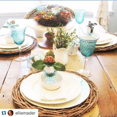 We've said it before, and we'll say it again!  We have the BEST customers on Earth ❤.                 #Repost @elliemader  ・・・ My Easter  table is set for Sunday's dinner. I went with more of rustic-elegance look this year with twig chargers from @paintedfox1 and the burlap with lace runner I made✂️. You can check on my blog for more pics  and sources, most everything was thrifted or found at discount stores. #springishere #springtime #eastertablescape #easterdinnertable #springtimede...