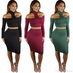 2018 Women Two Piece Set Halter Top And Pencil Skirt Knee Length Sexy Club  Bodycon Bandage Dresses From Sinofashion 1737a10fb