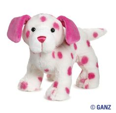 White Puppy with Pink Dots and Ears (Webkinz Product)