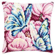 Blue Butterflies on Pink Pillow Covr
