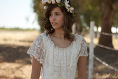 Short Sleeved Lace Vintage Wedding Dresses - Jenny. $450.00, via Etsy.
