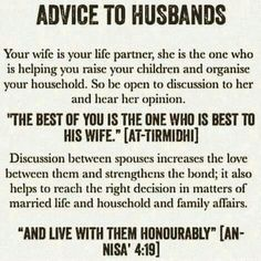 Advice to husbands in Islam: Involve her in important discussions & hear her opinion too Islamic Quotes On Marriage, Muslim Couple Quotes, Muslim Love Quotes, Love In Islam, Islamic Love Quotes, Islamic Inspirational Quotes, Religious Quotes, Muslim Couples, Marriage In Islam