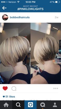 Stacked, inverted bob with pink low lights