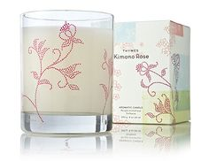 Thymes Kimono Rose candle. Subtle scent and the glass is so gorgeous.