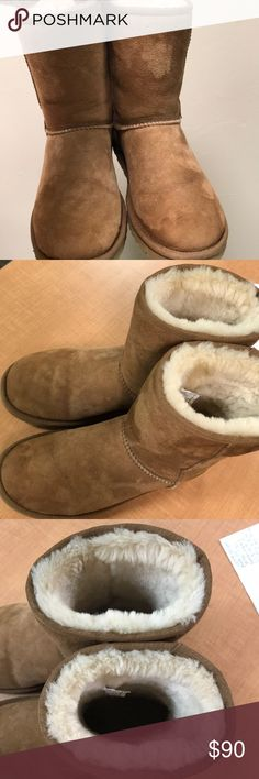 UGG boots!! Good Used Condition Good used condition UGG boots!! My puppy got a hold of the inside of one of the boots and ripped out a patch the size of two quarters. You can barely tell and the fur covers it up quite a bit. These boots have never been worn in wet weather and have no rain or snow or salt spots. Only worn a handful of times (10-12 outdoors). Fur is still fluffy on the inside! UGG Shoes Winter & Rain Boots