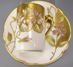 LIMOGES HAND PAINTED VIOLETS CUP SAUCER SIGNED GILBERT