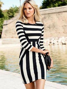 Gliding Euro Fashion Color Hit Slim Casual Dresses | Stylishplus.com