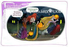 Merida, Repunzel and Tiana as the Sanderson Sisters from Hocus Pocus