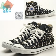 27135b72c08 Studs Punk Rock Sexy Custom Genuine Black Converse Silver Spike Metal  Sneakers