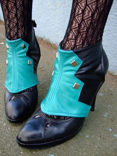 Spats  Teal and black leather with studsTheia by EidoL on Etsy, $88.00 leather ideas