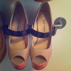 Steve Madden coral and tan open toe Mary pumps Super cute and only worn twice. Really cute detailing. Steve Madden Shoes Heels