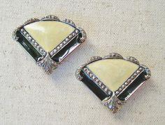 Marcasite Enamel Earrings Vintage Pierced Earrings by RadiantDays