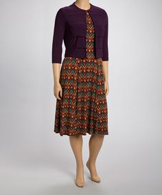 Take a look at this Black Currant Panel Jacket & Dress - Women by Danny & Nicole on #zulily today!