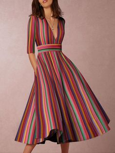 Multicolor Sexy Deep V-Neck Solid Midi Skater Dress – Majorgous Plus Size Maxi Dresses, Casual Dresses, Fashion Dresses, Women's Fashion, Fashion Online, Cheap Dresses, Fashion Clothes, Skater Fashion, Women's Dresses