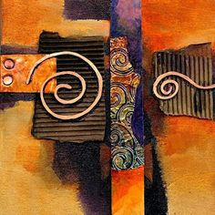 """CAROL NELSON FINE ART BLOG: Abstract Mixed Media Painting """"Copper Curls"""" by Colorado Mixed Media Abstract Artist Carol Nelson"""