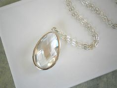 Clear Crystal Necklace Long Pendant Necklace by LisaDJewelry, $38.00