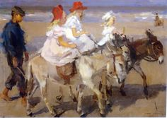 "Isaac Israels ""Donkey riding on the beach"" Postcard from Tarja in Finland"