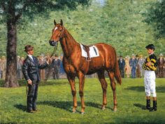 Man O' War Photo from Oil Painting Horse Racing   eBay