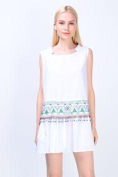 Embroidered Beaded Fringe Hem Dress (White) S$ 38.00