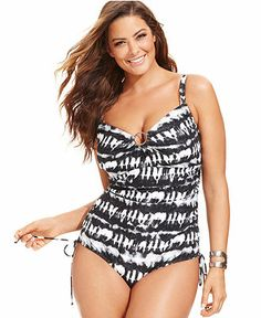 MICHAEL Michael Kors Plus Size Tie-Dye Ruched One-Piece Swimsuit - Plus Size Swimwear - Plus Sizes - Macy's