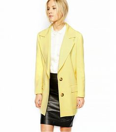 Asos Longline Coat with Patch Pockets Yellow Coat, Black Leather Skirts, Street Style, Fashion Week, Spring Fashion, Fashion Online, Fashion Tips, Autumn Winter Fashion, Spring Outfits