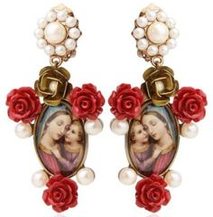 Dolce & Gabbana Multicolor Virgin Mary Red Rose Resin Earrings