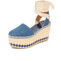 Tory Burch Dandy Espadrille Wedges ($375) ❤ liked on Polyvore featuring shoes, sandals, blue espadrilles, denim wedge sandals, wedge sandals, blue wedge sandals and denim shoes