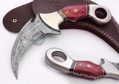 Custom Made Beautiful Damascus steel Double Edge  Karambit Knife (1047-3) #UltimateWarrior
