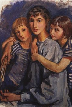 Self-Portrait with Daughters - Zinaida Serebriakova - WikiPaintings.org