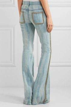 Gucci Studded embroidered mid-rise flared jeans