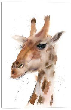 Canvas Art by Olga Shefranov | iCanvas Watercolor Animals, Watercolor Paintings, Original Paintings, Original Art, Watercolor Pictures, Giraffe Painting, Giraffe Art, Bird Artwork, Animal Paintings