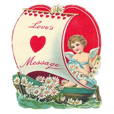 Love's message. #cupid #vintage #cute #Valentines #cards