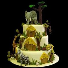 Looking for some zoo cake inspiration and found this amazing zoo wedding cake. Wow, I'm not sure this is a good benchmark for me. This is beautiful! Zoo Cake, Jungle Cake, Jungle Party, Safari Party, Pretty Cakes, Beautiful Cakes, Amazing Cakes, Cake Icing, Cupcake Cakes