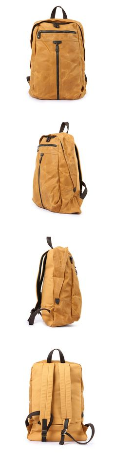 0f92aaac4e Waxed canvas backpack, Backpack for man, Canvas Bag with Leather Trim,  Laptop Briefcase