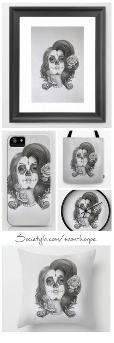 Día de Muertos. Day of the Dead Illustration. Purchase: http://society6.com/samthorpe Follow me: www.facebook.com/pages/ST-Illustrations/292448024146314