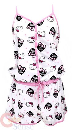 Sanrio Hello kitty SleepWear Hole In One w/Pants :White -L Hello Kitty Clothes, Hello Kitty Dress, Lazy Day Outfits, Girl Outfits, Cute Outfits, Hello Kitty Merchandise, Hello Kitty Themes, Pajama Outfits, Hello Kitty Collection