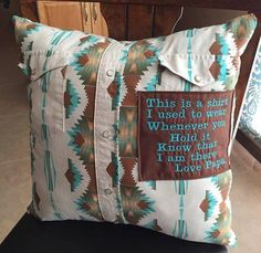 Memory Pillows - made from grandpa's (or grandma's) old shirts. Could use a cozy sweater of theirs, also! Sewing Hacks, Sewing Crafts, Sewing Projects, Diy Crafts, Sewing Tips, Old Shirts, Dad To Be Shirts, Button Shirts, Just In Case