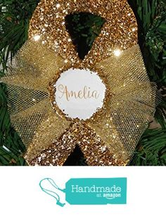 Childhood Cancer Awareness Gold Ribbon Christmas Ornament - Personalized - Monogram from Sollevami https://www.amazon.com/dp/B01MRKFX97/ref=hnd_sw_r_pi_dp_wWXmyb2PMHJJ9 #handmadeatamazon