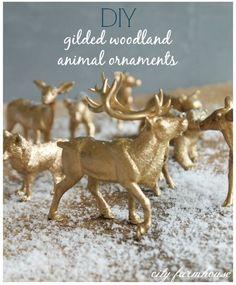 fun + easy DIY ornaments- Gold Gilded Woodland Animals.