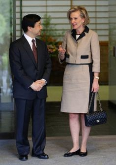 Belgium's Princess Astrid (R) talks to Japan's Crown Prince Naruhito upon her arrival at Naruhito's official Togu Palace residence in Tokyo 23 April 2013