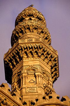Minaret, Sultan Hasan Mosque and Madrasa, Islamic Cairo, Cairo, Egypt