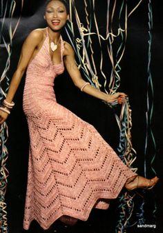 Crochet DRESS Pattern Vintage Crochet Wedding Dress Pattern MAXI Chevron Pattern Crochet Wedding Gown Evening Dress Pattern - Vintage Crochet Pattern ♥ Snowfall Evening Skirt and Shell ♥´¨) ¸. Crochet Evening Dresses, Vintage Crochet Dresses, Evening Dress Patterns, Crochet Wedding Dresses, Dress Vintage, Wedding Gowns, Grecian Wedding, 50s Wedding, Free Wedding