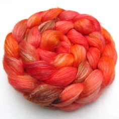 Roving - Tangerine - Merino Bamboo Spinning Fiber