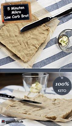 Ist es möglich, ein perfektes Low Carb Brot in nur 5 Minuten (inklusive Vorbereitung) selbst zu backen? Ein Low-Carb Brot Rezept (fast) ohne Kohlenhydrate, das sowohl mit Keto Marmelade zum Frühstück, wie auch mit deftigem Brotbelag zum Abendessen hervorragend schmeckt? Ja, gibt es! Schnelles & einfaches 5 Minuten Low Carb Brot Rezept. 5 Zutaten, 5 min. & Mikrowelle. Schmeckt wie richtiges Brot!