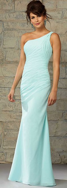 Charming Chiffon One Shoulder Neckline Floor-length Sheath Bridesmaid Dress