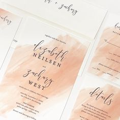 Watercolor swash wedding invitation from Kramer Drive. Customize yours with Paper Passionista. Summer Wedding Invitations, Watercolor Wedding Invitations, Initials, Marriage, Love You, Instagram, Paper, Mariage, Te Amo