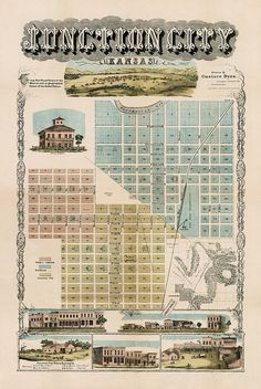 Junction City Kansas Street Map, ca.1870