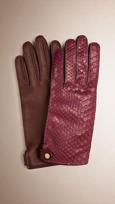 Dark plum Python and Lambskin Gloves - Image 1