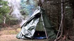 Cool DIY Video : How to build a  Tarp Tipi Survival Shelter in the bush with a stone fireplace inside